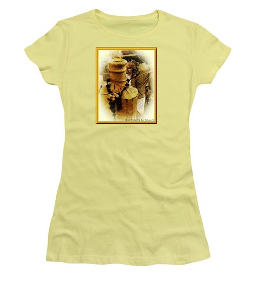 Women's T-Shirt (Junior Cut) featuring the mixed media He Turned Water Into Wine by Ray Tapajna