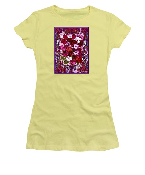 Women's T-Shirt (Junior Cut) featuring the mixed media Healing Flowers For You by Ray Tapajna