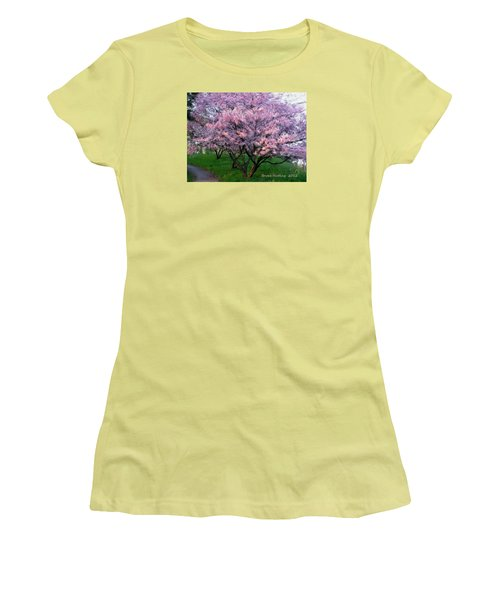 Women's T-Shirt (Junior Cut) featuring the painting Heartfelt Cherry Blossoms by Bruce Nutting