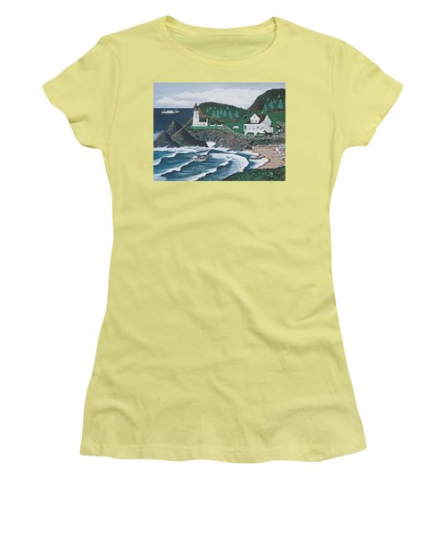 Women's T-Shirt (Junior Cut) featuring the painting Heceta Lighthouse by Jennifer Lake