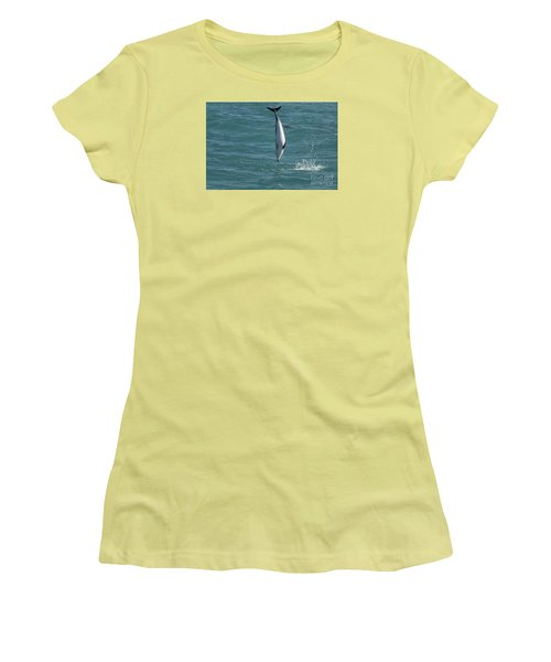 Hector Dolphin Diving Women's T-Shirt (Junior Cut) by Loriannah Hespe