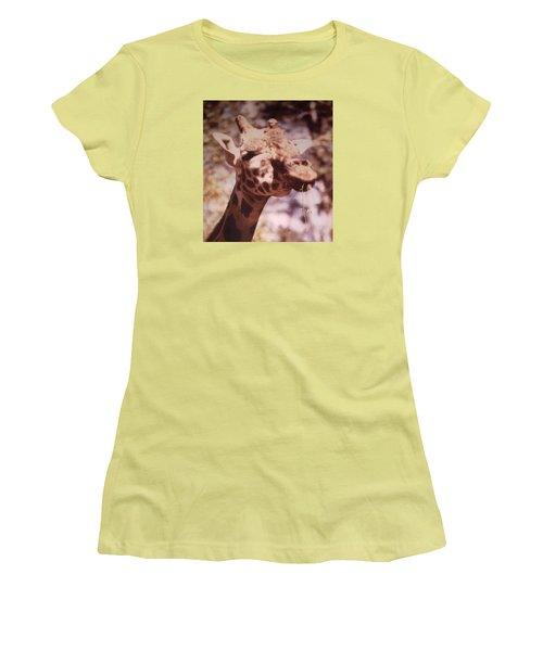 Velvety Giraffe Women's T-Shirt (Junior Cut) by Belinda Lee