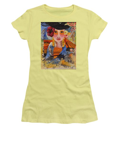 Her Red Flower Women's T-Shirt (Junior Cut) by Glory Wood
