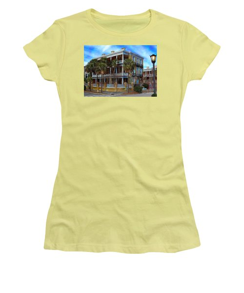 Women's T-Shirt (Junior Cut) featuring the photograph Historic Charleston Mansion by Kathy Baccari