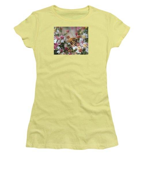 Honeybee Sipping Nectar On Wild Aster Women's T-Shirt (Junior Cut) by Lucinda VanVleck