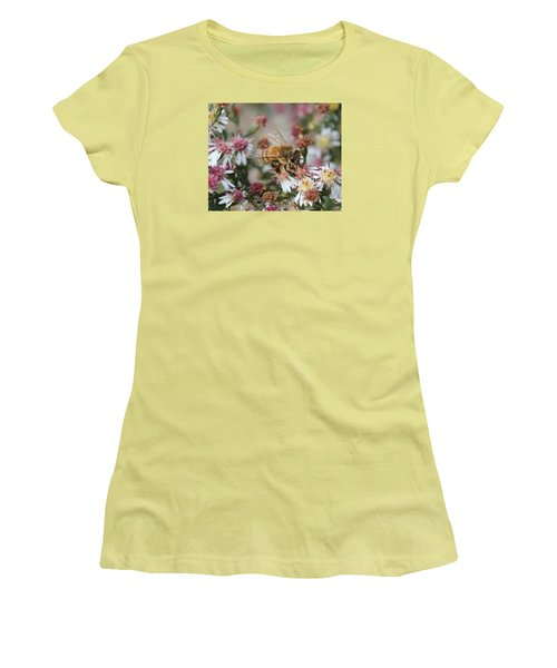 Honeybee Sipping Nectar On Wild Aster Women's T-Shirt (Athletic Fit)