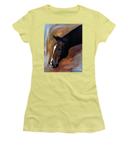 Women's T-Shirt (Junior Cut) featuring the painting horse - Apple copper by Go Van Kampen
