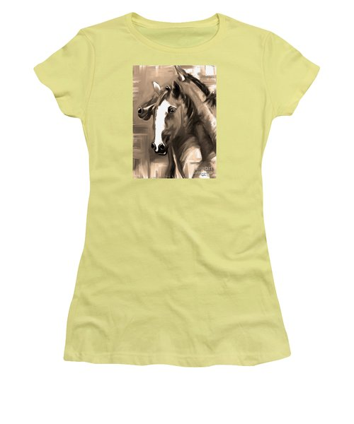Women's T-Shirt (Junior Cut) featuring the painting Horse Together 1 Sepia by Go Van Kampen