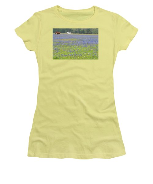 Horses Running In Field Of Bluebonnets Women's T-Shirt (Junior Cut) by Connie Fox