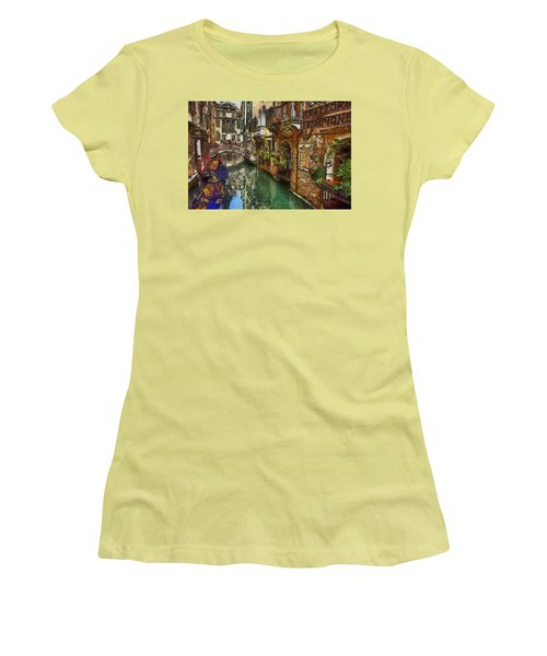 Women's T-Shirt (Junior Cut) featuring the painting Houses In Venice Italy by Georgi Dimitrov
