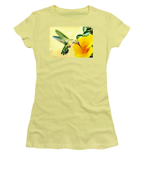 Hummingbird And California Poppy Women's T-Shirt (Athletic Fit)