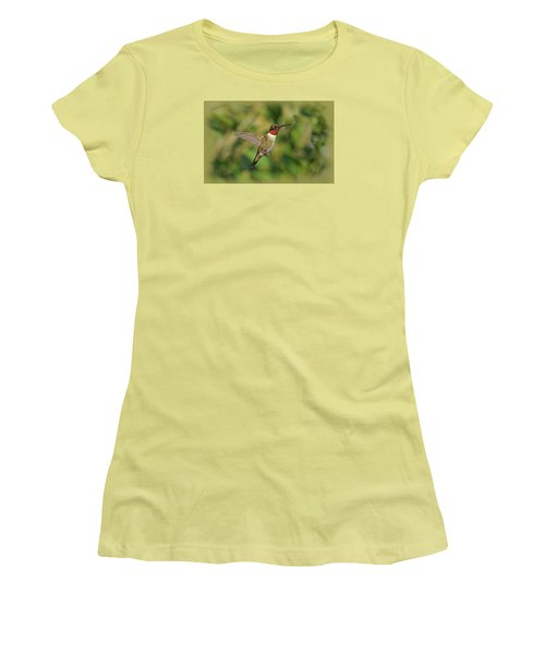 Hummingbird In Flight Women's T-Shirt (Junior Cut) by Sandy Keeton