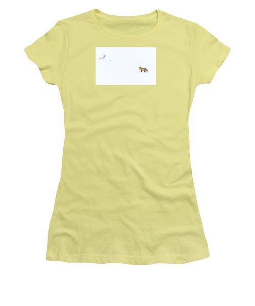 Women's T-Shirt (Junior Cut) featuring the photograph Hunting In White by Yeates Photography