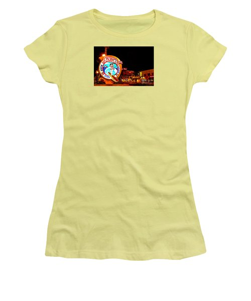 Women's T-Shirt (Junior Cut) featuring the photograph Huntington Beach Downtown Nightside 2 by Jim Carrell