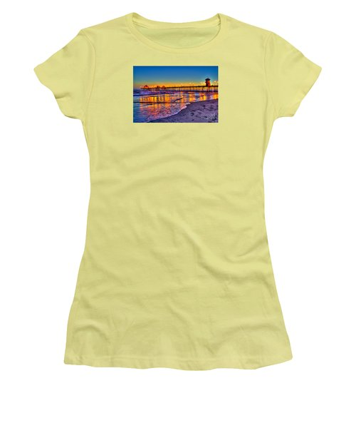 Huntington Beach Pier Sundown Women's T-Shirt (Athletic Fit)