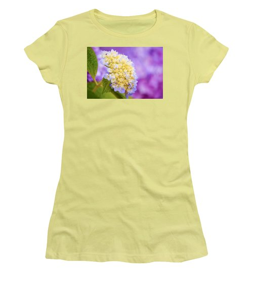 Hydrangea On Purple Women's T-Shirt (Athletic Fit)