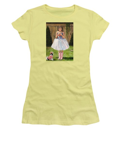 Women's T-Shirt (Junior Cut) featuring the painting I Dressed Myself by Donna Tucker