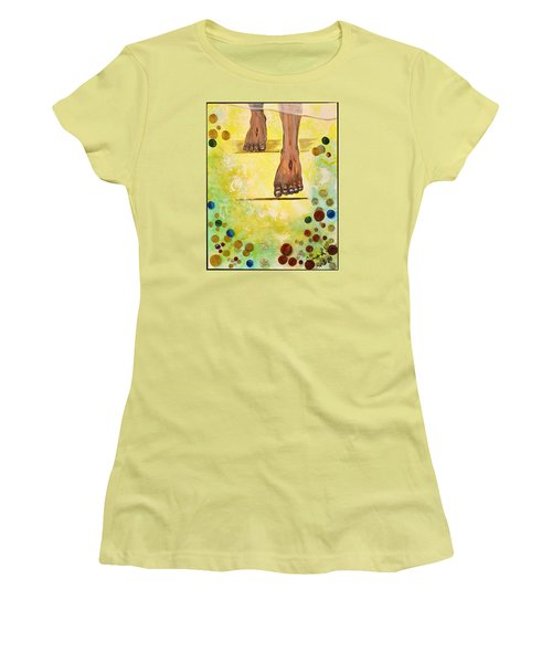 Women's T-Shirt (Junior Cut) featuring the painting I Knock by Cassie Sears