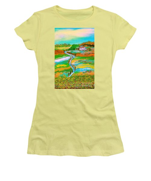 Women's T-Shirt (Junior Cut) featuring the painting  Tuscan Countryside by Loredana Messina