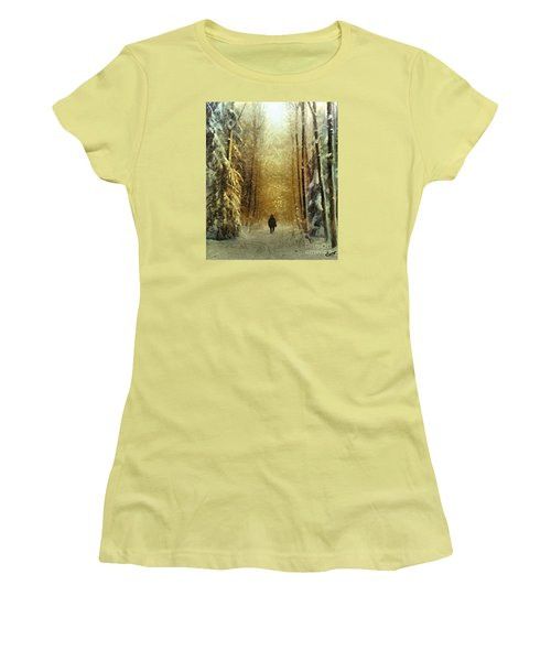 Women's T-Shirt (Junior Cut) featuring the painting I'll Be Home For Christmas by Dragica  Micki Fortuna