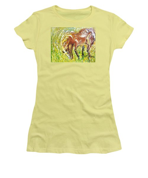Women's T-Shirt (Junior Cut) featuring the painting In The Field by Evelina Popilian