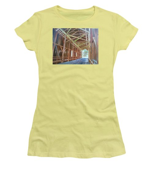 Inside Felton Covered Bridge Women's T-Shirt (Junior Cut) by LaVonne Hand