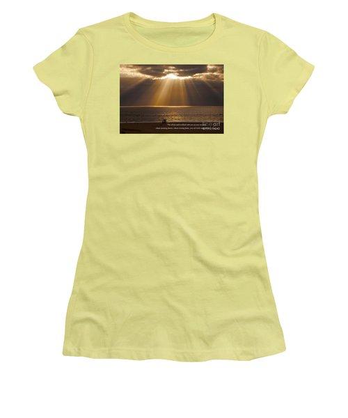 Inspirational Sun Rays Over Calm Ocean Clouds Bible Verse Photograph Women's T-Shirt (Junior Cut) by Jerry Cowart