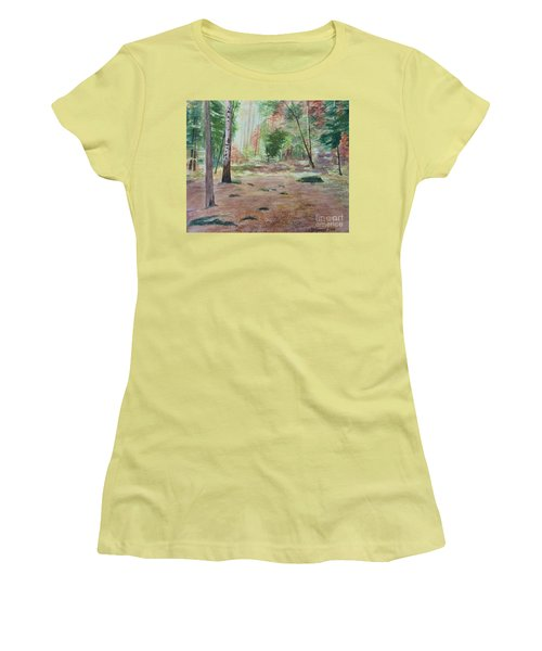 Women's T-Shirt (Junior Cut) featuring the painting Into The Forest by Martin Howard