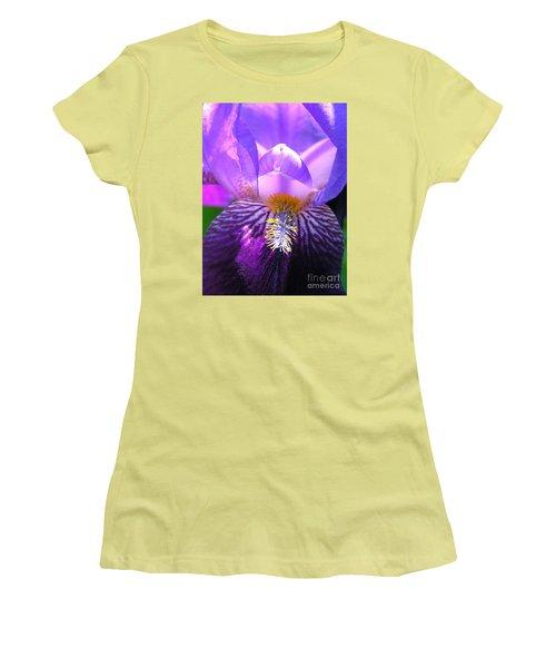 Women's T-Shirt (Junior Cut) featuring the photograph Iris Light by Susan  Dimitrakopoulos