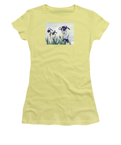 Irises Purple Flowers Painting Floral K. Joann Russell                                           Women's T-Shirt (Athletic Fit)