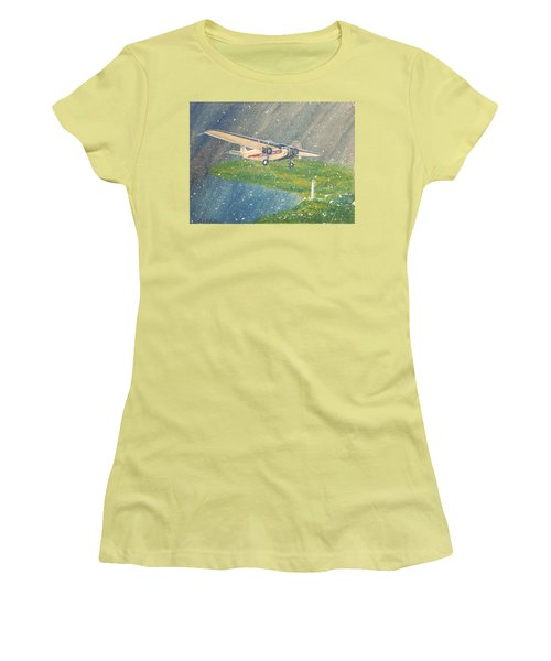 Island Airlines Ford Trimotor Over Put-in-bay In The Winter Women's T-Shirt (Junior Cut) by Frank Hunter