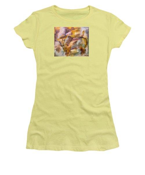 Women's T-Shirt (Junior Cut) featuring the painting Istrian Bull -  Boshkarin by Dragica  Micki Fortuna