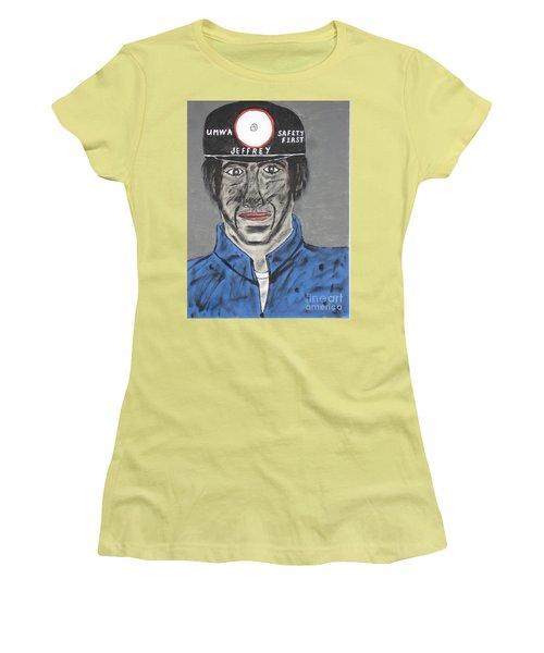 Women's T-Shirt (Junior Cut) featuring the painting Jeffrey The Coal Miner by Jeffrey Koss