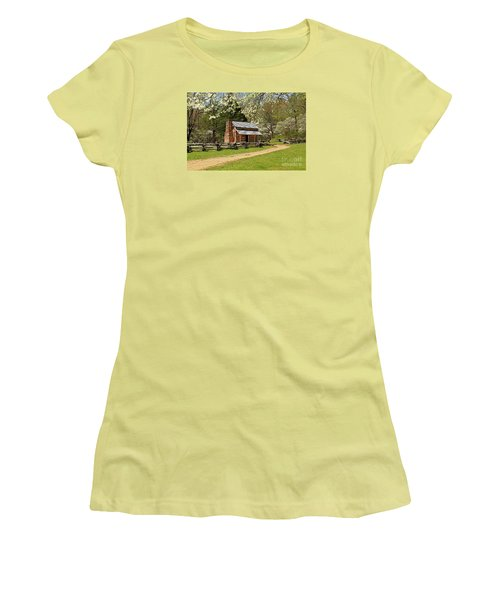 Women's T-Shirt (Junior Cut) featuring the photograph John Oliver's Cabin by Geraldine DeBoer