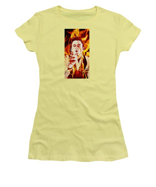 Women's T-Shirt (Junior Cut) featuring the painting Johnny Cash And It Burns by Joshua Morton