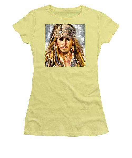 Johnny Depp Jack Sparrow Actor Women's T-Shirt (Junior Cut) by Georgi Dimitrov