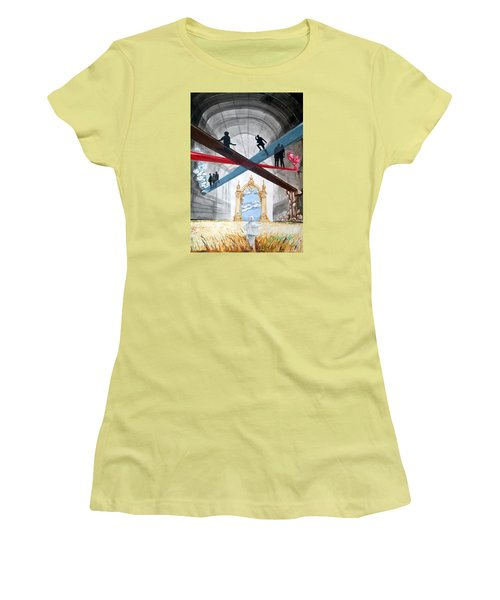Women's T-Shirt (Junior Cut) featuring the painting Just Paths  by Lazaro Hurtado