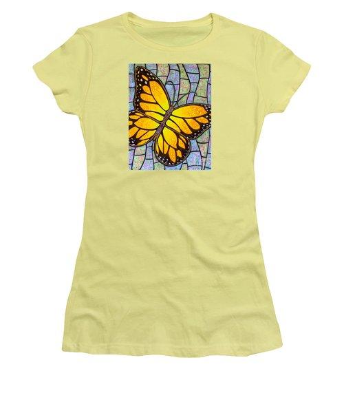 Women's T-Shirt (Junior Cut) featuring the painting Karens Butterfly by Jim Harris