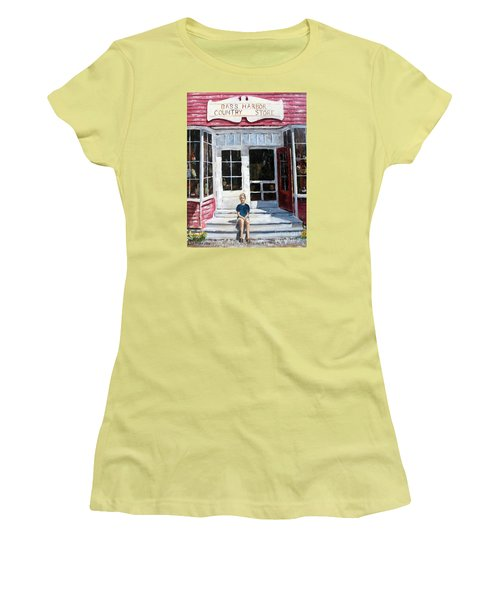 Women's T-Shirt (Junior Cut) featuring the painting Katie At Bass Harbor Maine by Lee Piper