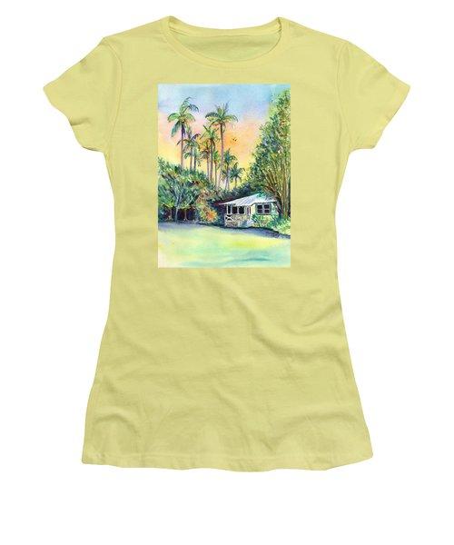 Kauai West Side Cottage Women's T-Shirt (Junior Cut) by Marionette Taboniar