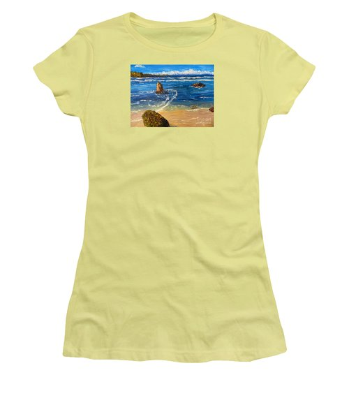 Women's T-Shirt (Junior Cut) featuring the painting Kiama Beach by Pamela  Meredith
