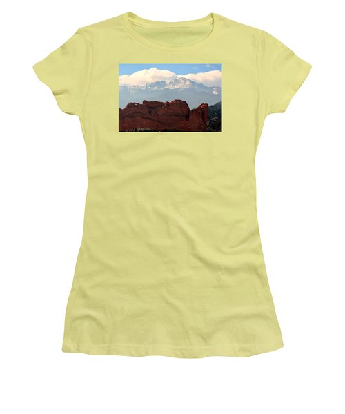 Kissing Camels Against Pikes Peak Women's T-Shirt (Junior Cut) by Clarice  Lakota