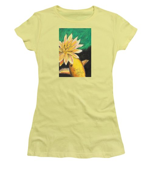Women's T-Shirt (Junior Cut) featuring the painting Koi And The Lotus Flower by Jeanne Fischer