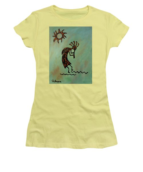 Kokopelli Flute Player Women's T-Shirt (Junior Cut) by Roseann Gilmore