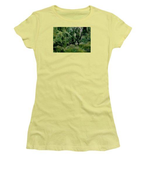 Women's T-Shirt (Junior Cut) featuring the painting Kudzombies by Elizabeth Carr