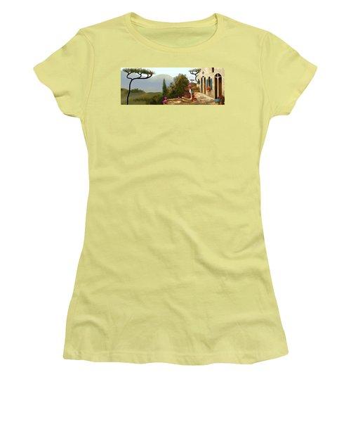 Women's T-Shirt (Junior Cut) featuring the painting La Bella Terrazza by Larry Cirigliano