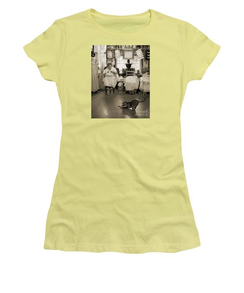 Women's T-Shirt (Junior Cut) featuring the photograph Lace Lady Of Burano-bw by Jennie Breeze