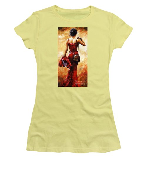Lady In Red #25 Women's T-Shirt (Junior Cut) by Emerico Imre Toth