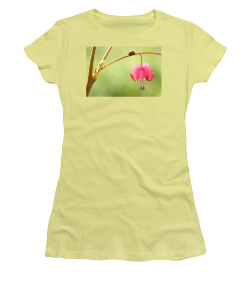 Ladybug And Bleeding Heart Flower Women's T-Shirt (Junior Cut) by Peggy Collins