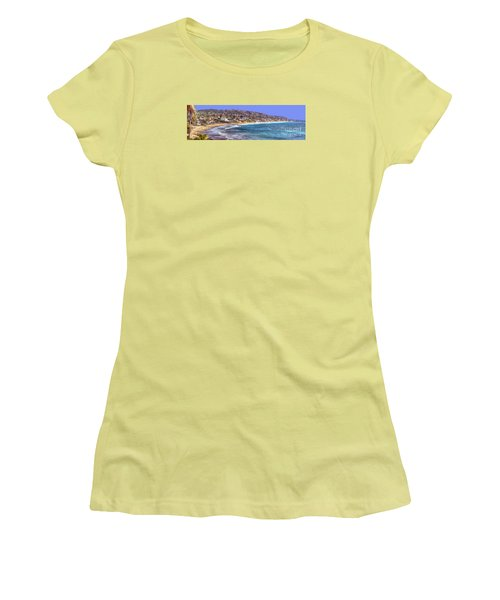 Laguna Beach Coast Panoramic Women's T-Shirt (Junior Cut) by Jim Carrell
